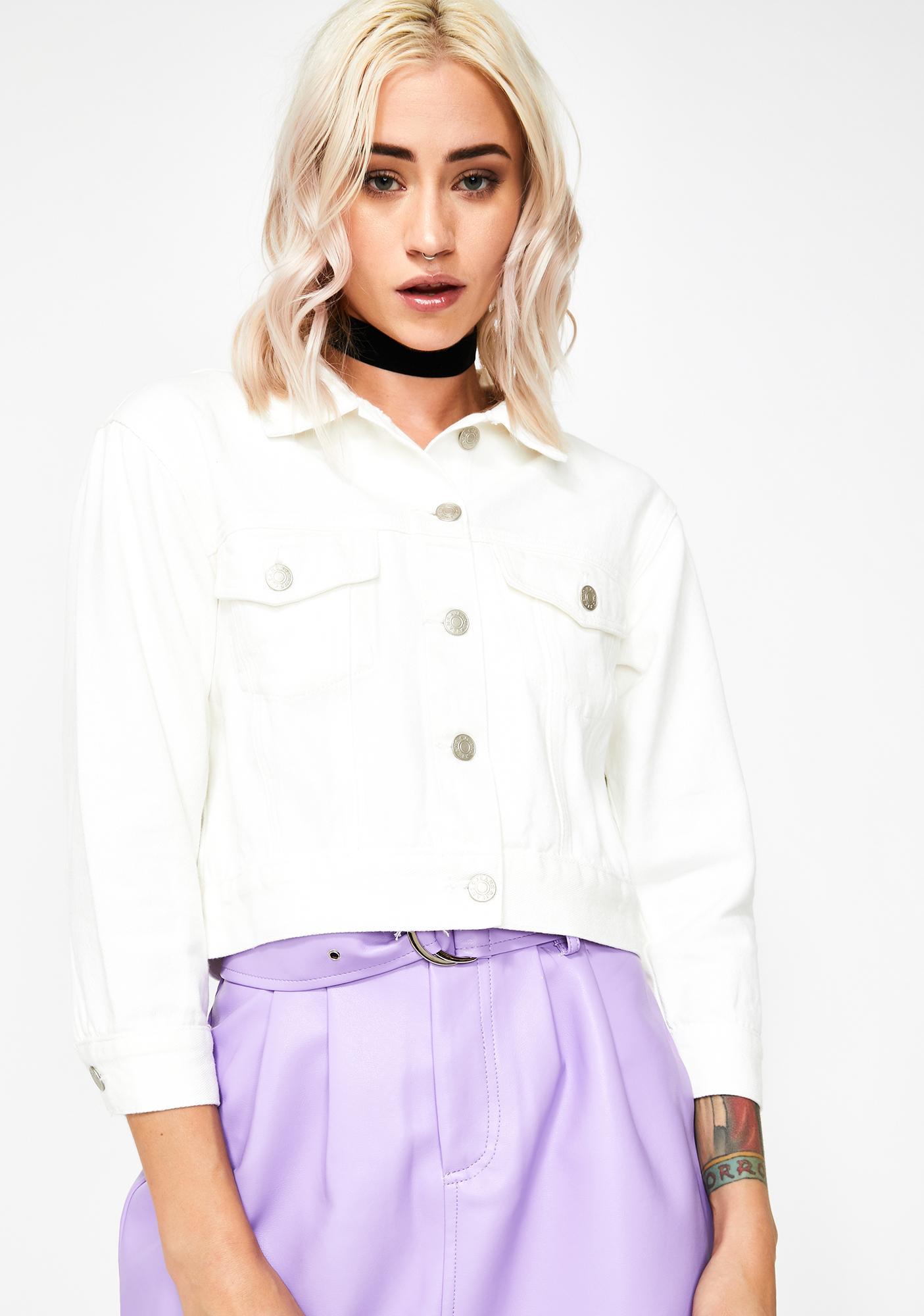Momokrom White Cropped Denim Jacket