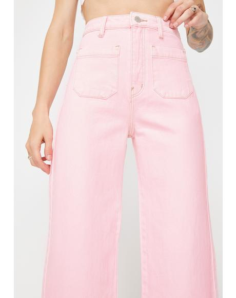 80s Pink Sailor Wide Leg Jeans