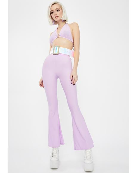 Lilac Chain Flared Pants