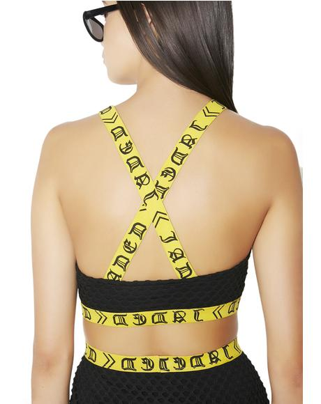 Black & Yellow Buckle Crop Top