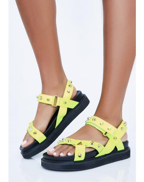 Lime Miss Gladiator Studded Sandals