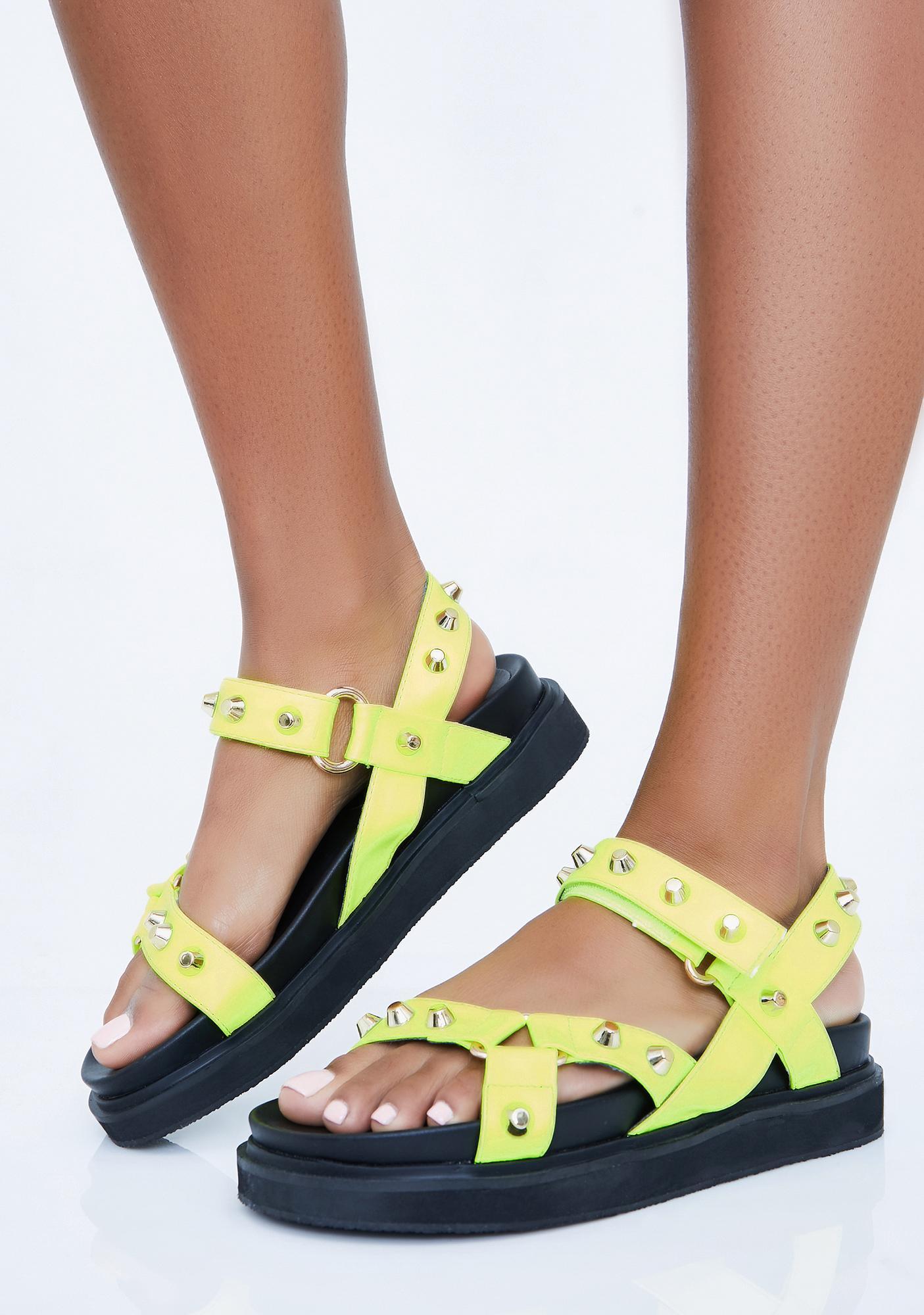 574d17d877 Lime Miss Gladiator Studded Sandals