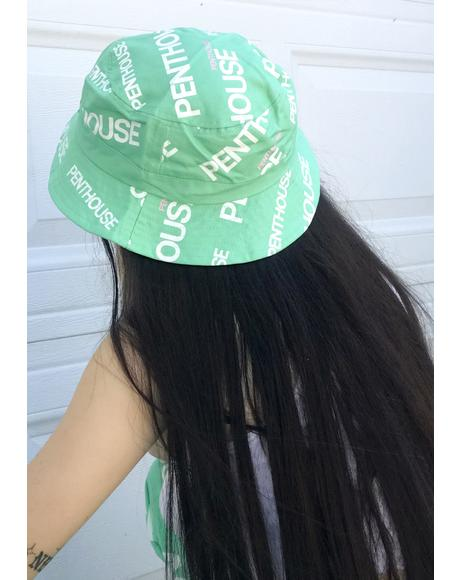 X Penthouse Teal Logo Bucket Hat