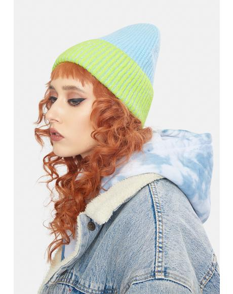Straight Chill Sky Lime Ribbed Beanie