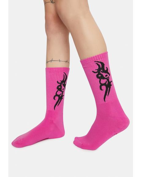 Tattoo Love Pink Socks
