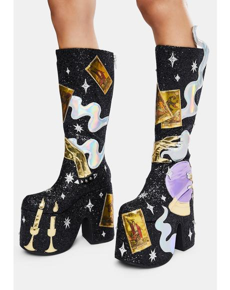 Cosmic Fortune Platform Boots