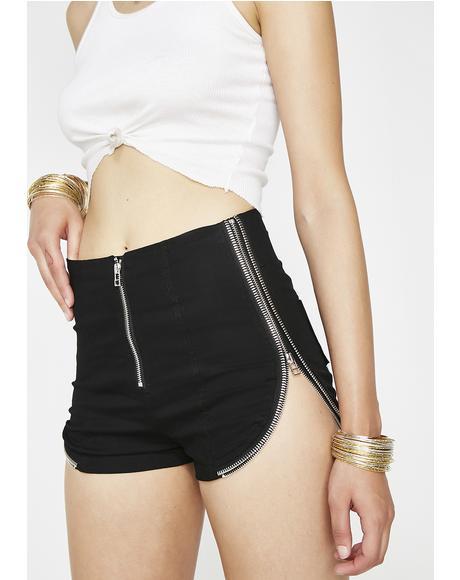 Dark Border Line Zip Shorts