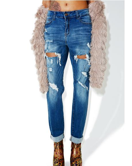 Over You Destroyed Boyfriend Jeans