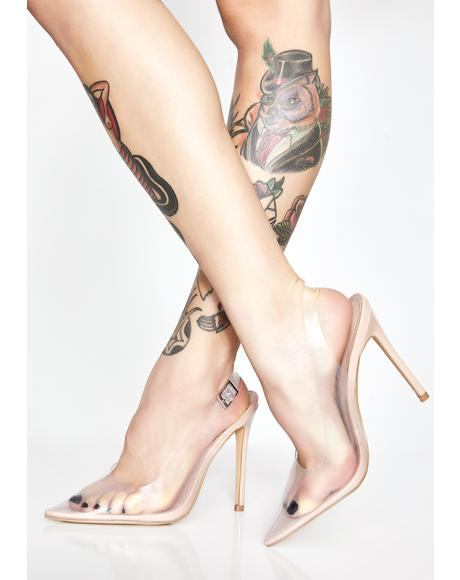 Seamless Manner Clear Heels