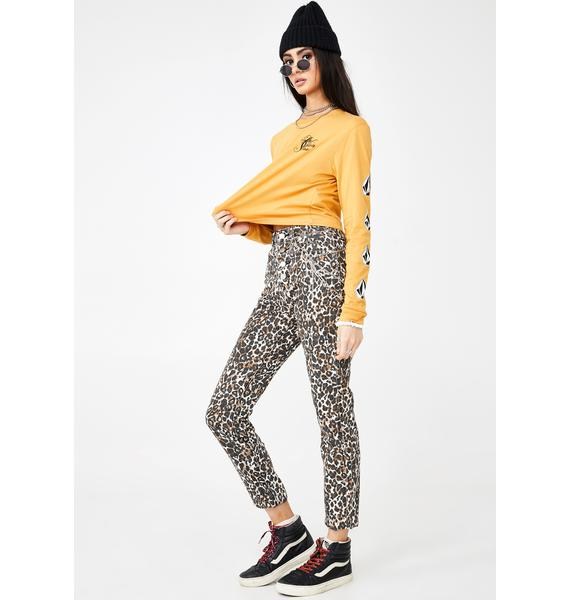 Volcom Animal Print Super Stoned Skinny Jeans