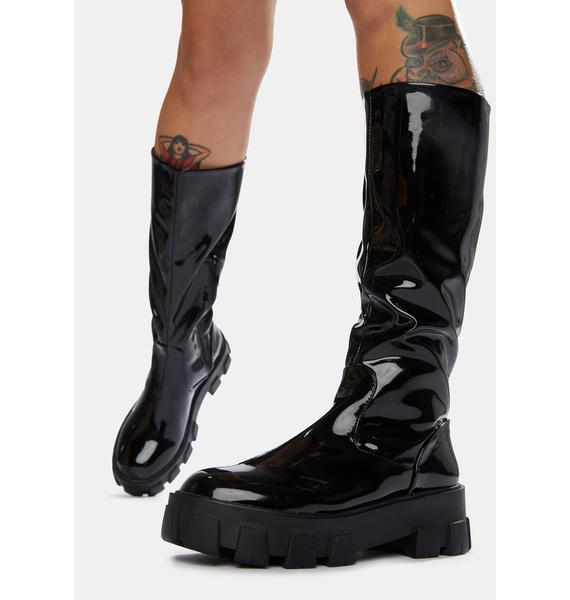 Public Desire Black Karma Chunky Sole Knee High Boots