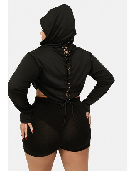 You Can't Handle This Lace-Up Shrug Hoodie