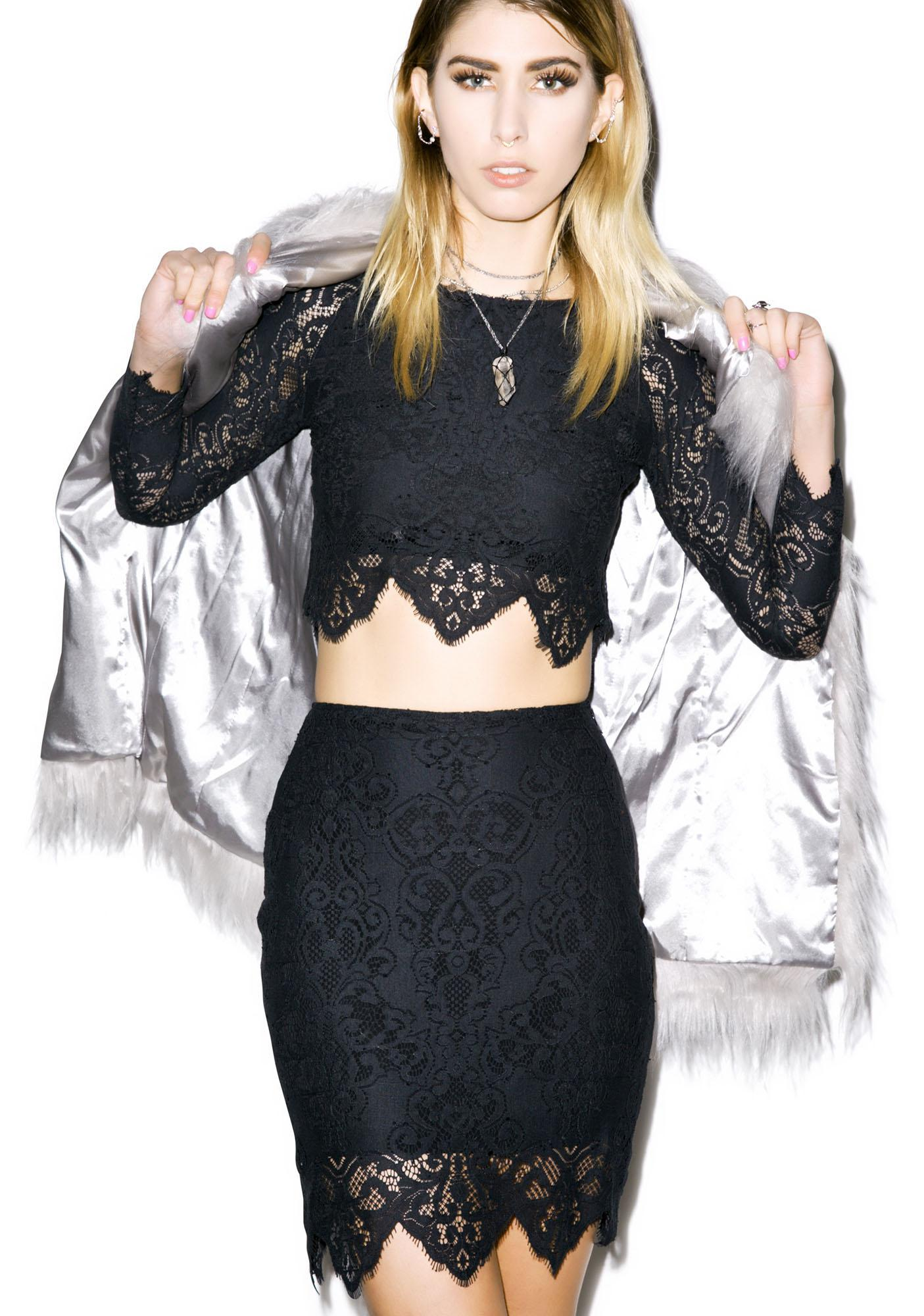 For Love & Lemons Midnight Mini Skirt
