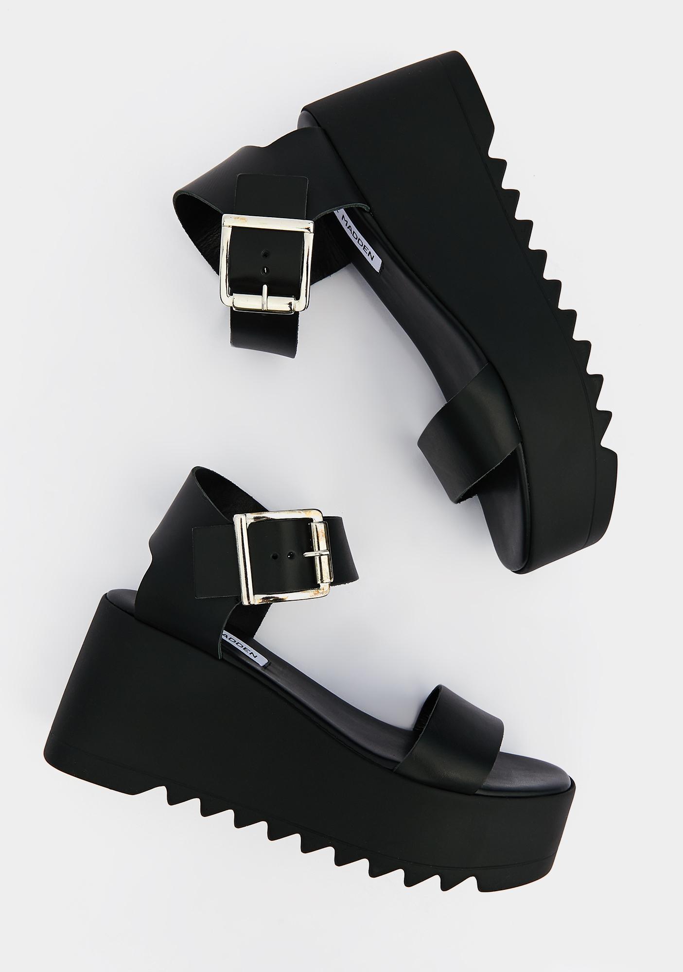 Steve Madden Black Leather Lake Platform Sandals