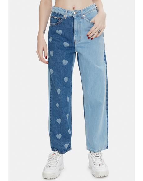 Heart Print Contrast Straight Jeans
