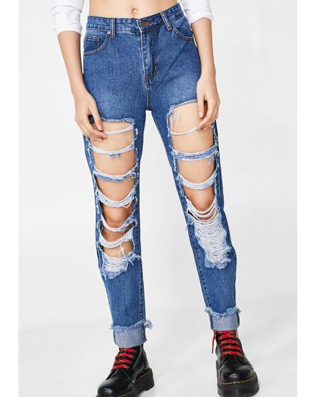 Indigo Say It Loud Distressed Jeans