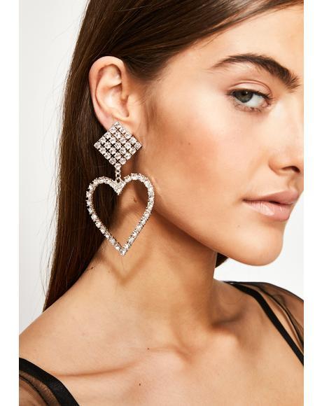 Heart Of Stone Rhinestone Earrings