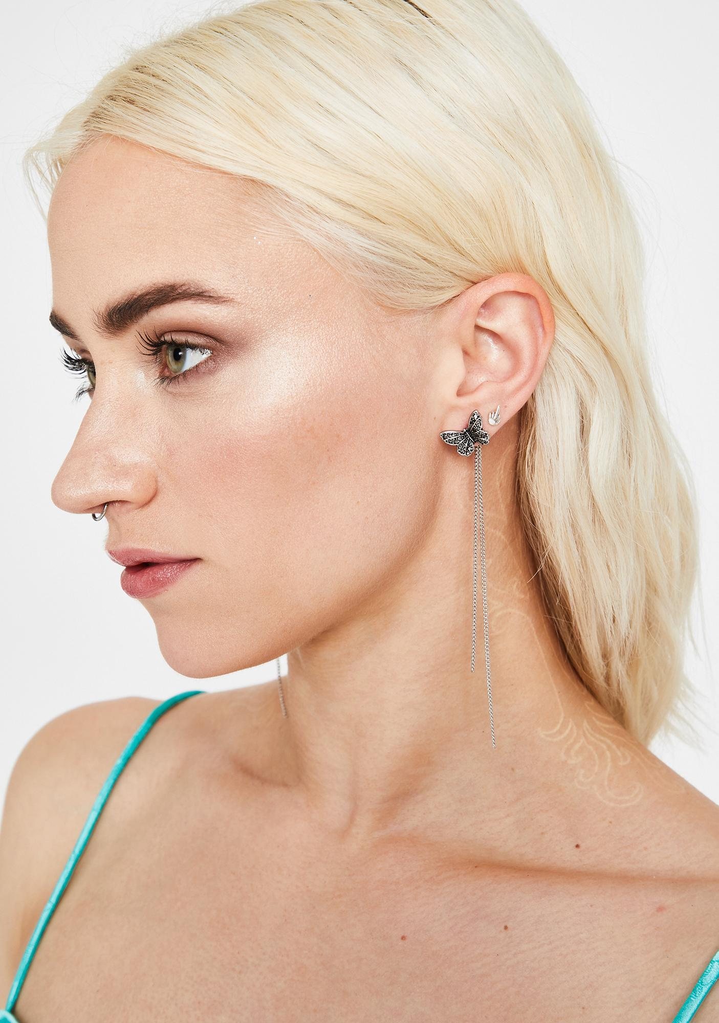 Chained To The Rhythm Butterfly Earrings