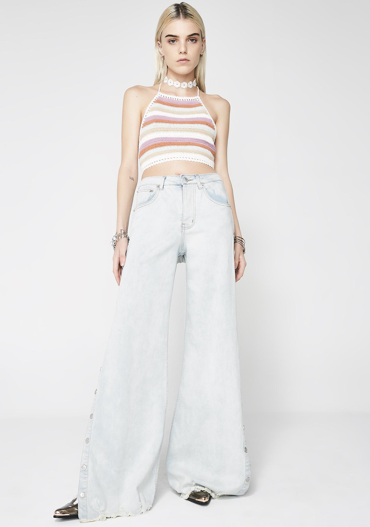 Snap Away Wide Leg Jeans