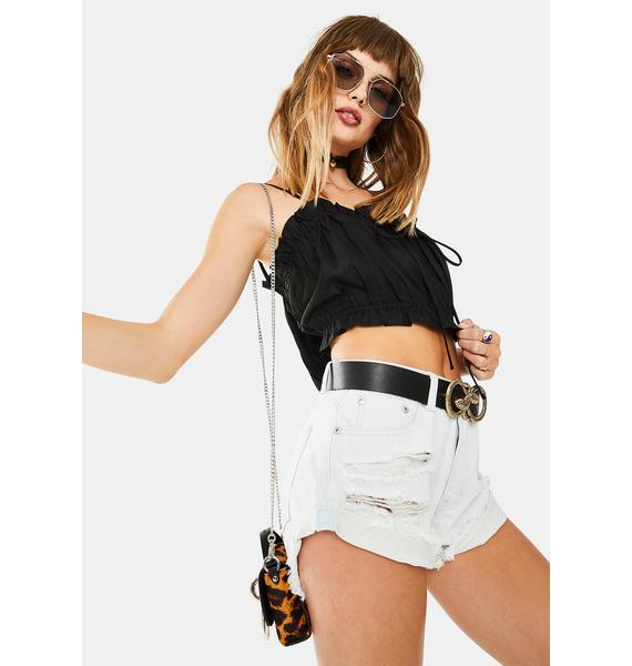 Glamorous Sleeveless Tie Front Crop Top
