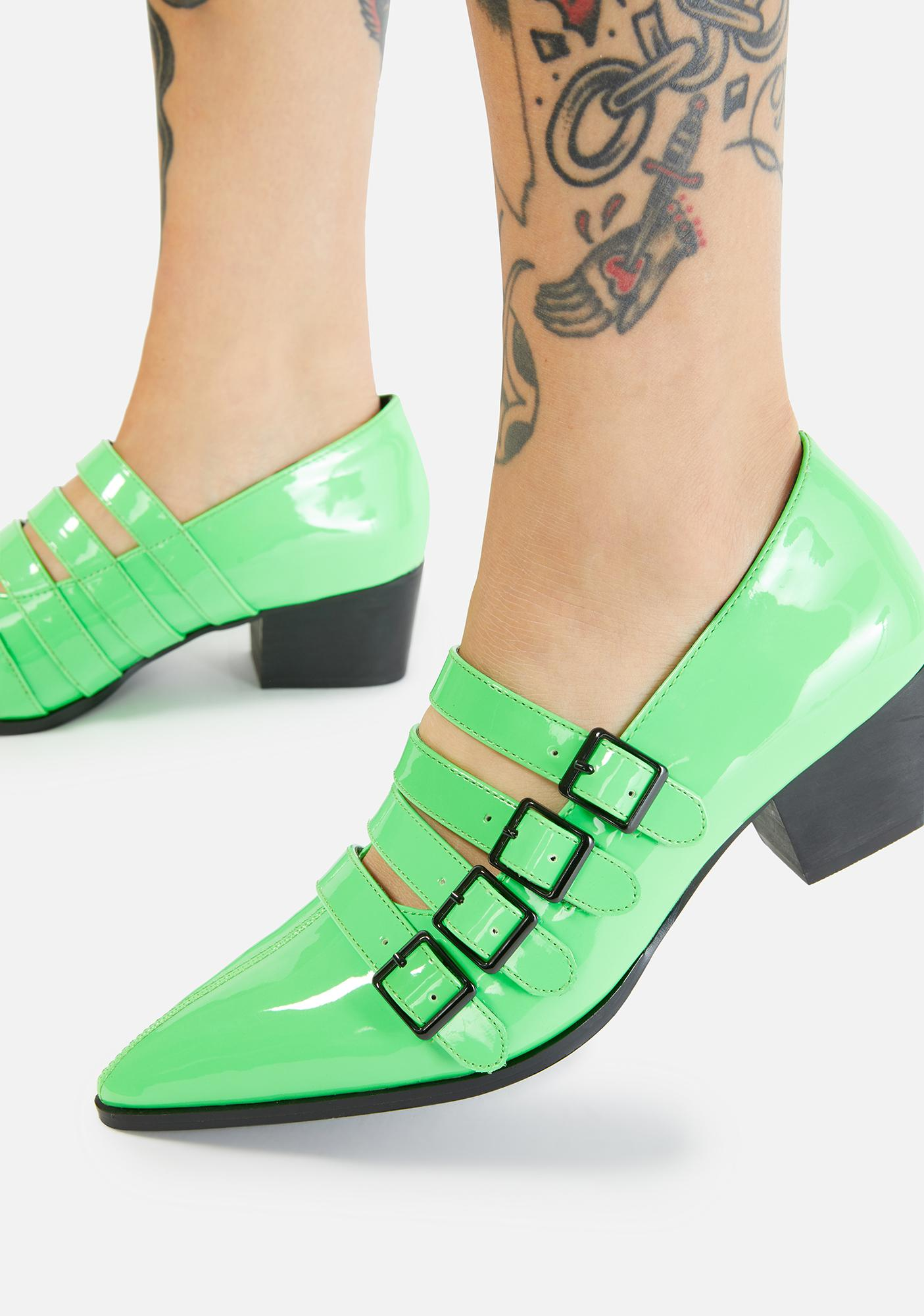 Strange Cvlt Green Coven Block Heels