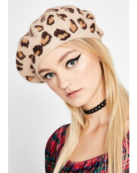 Panther Passion Knit Beret
