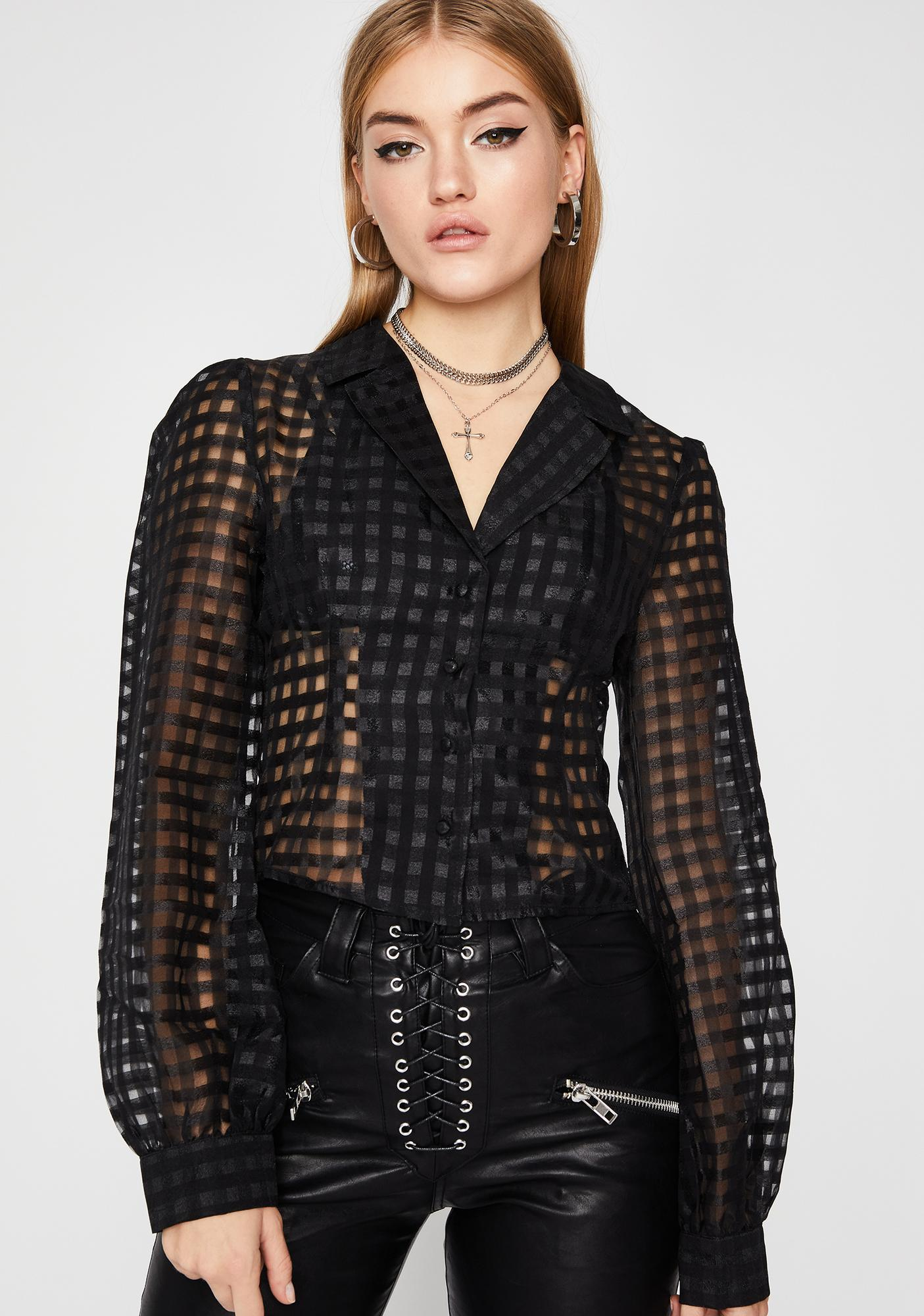 Check For Midnight Sheer Blouse