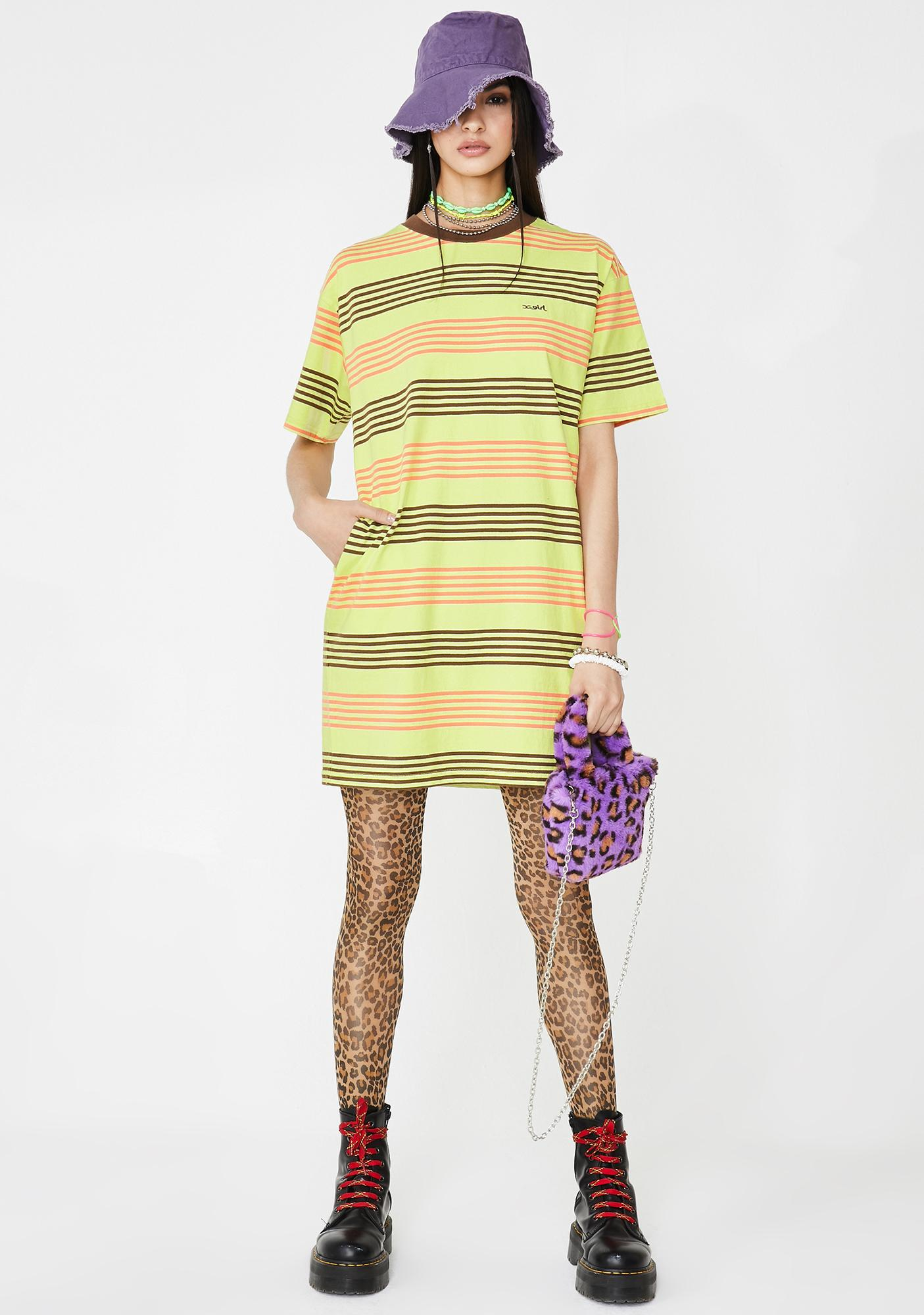 x-Girl Green Striped Short Sleeve Tee Dress
