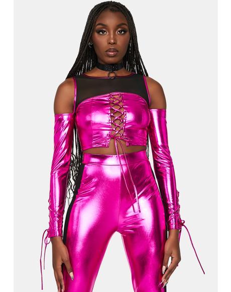 Fuchsia Futuristic Diva Metallic Lace-Up Set