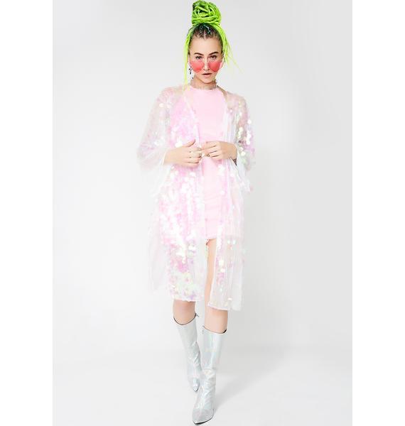 Club Exx Iridescent Glimmer Goddess Sequin Kimono