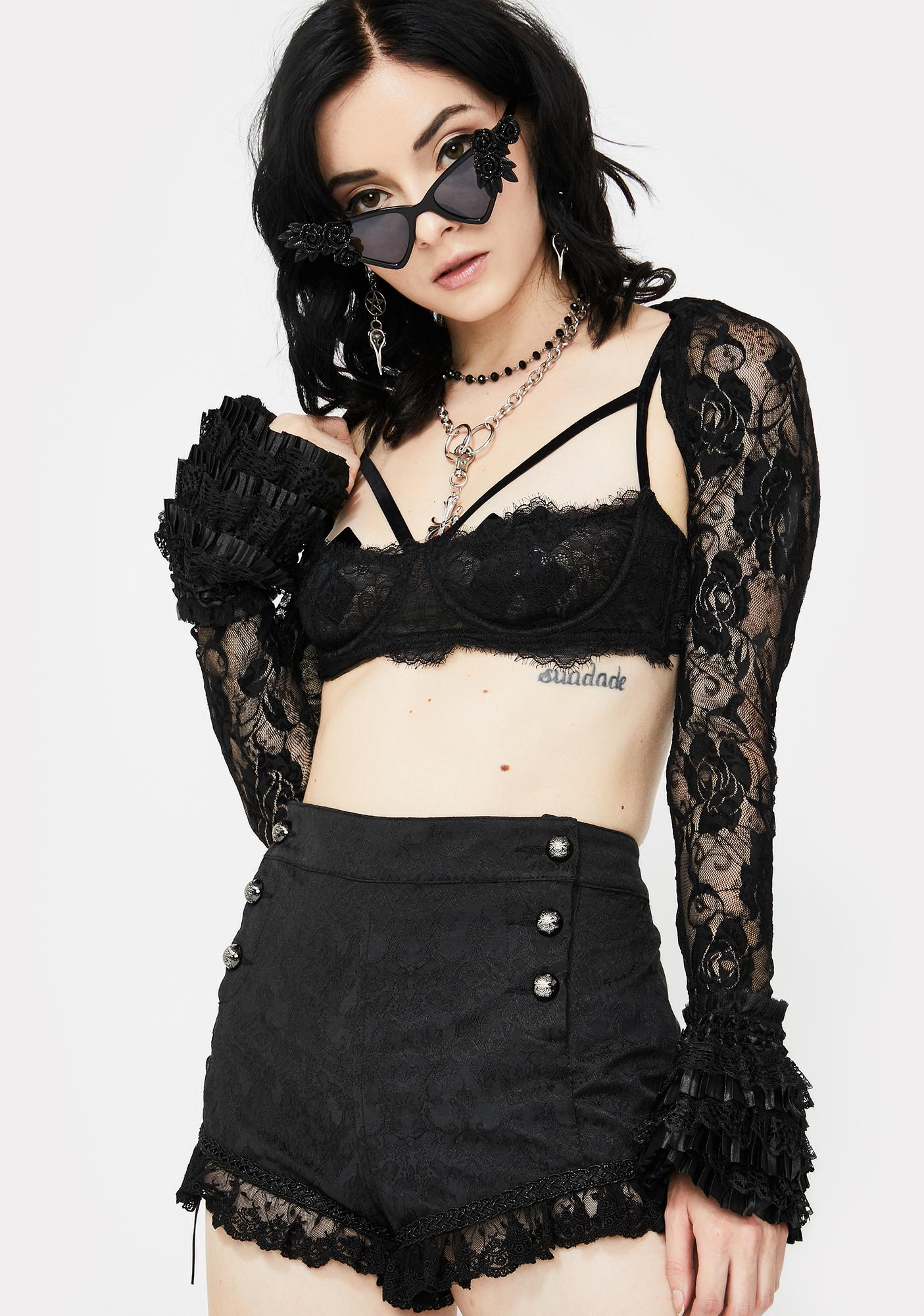 Devil Fashion Ruffle Lace Up Hot Shorts