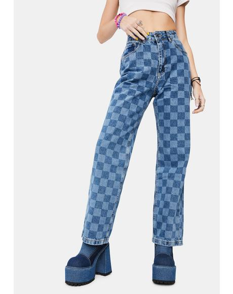 Rook Checkered Dad Jeans