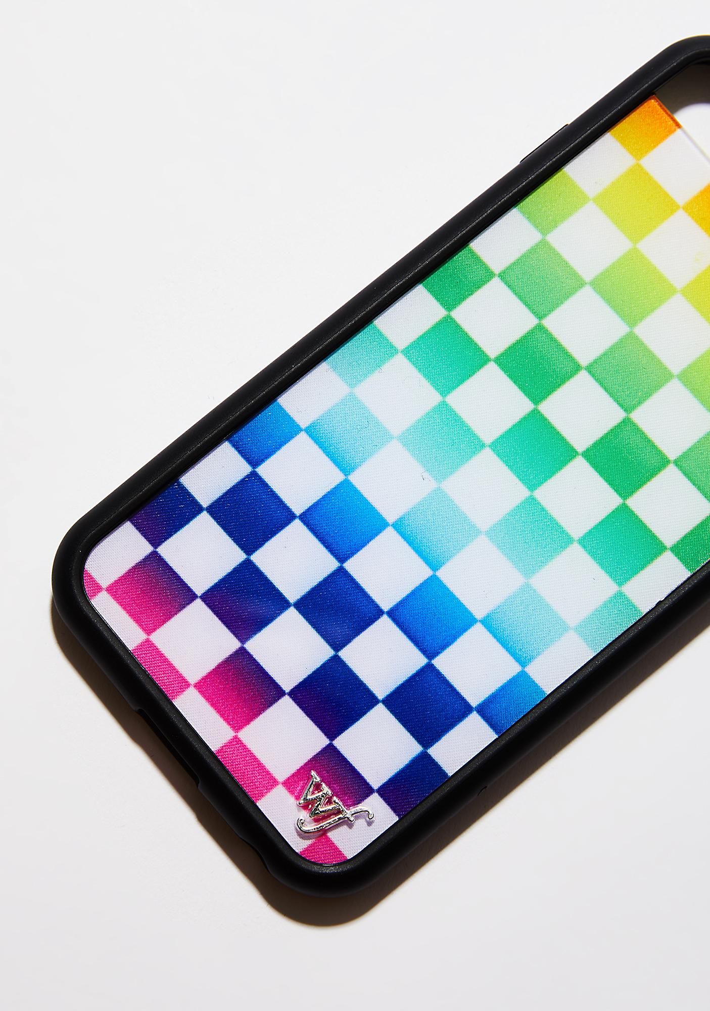 Wildflower Rainbow Checkers iPhone Case