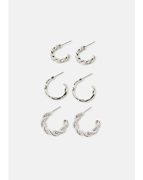 Classy Clingy Mixed Hoops Earrings