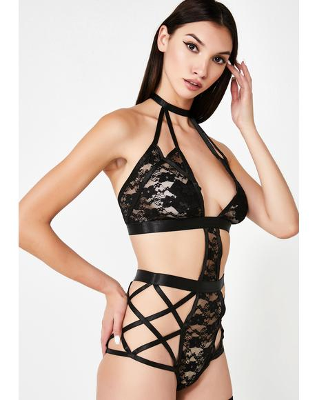 Love Strapped Sheer Lace Bodysuit