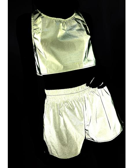 Neon Kosmik Kreature Shorts Set
