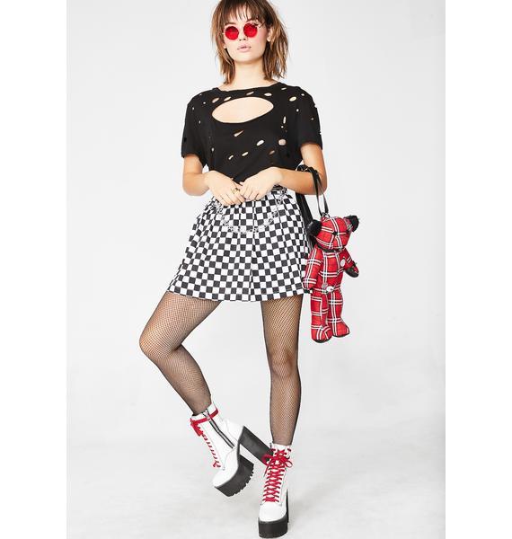 LOVE TOO TRUE Checkered Pleated Skirt
