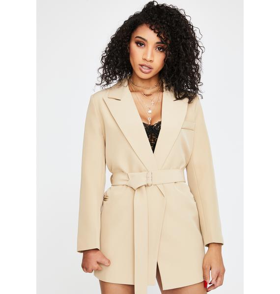 THE KRIPT Tan Leader Blazer Jacket Dress