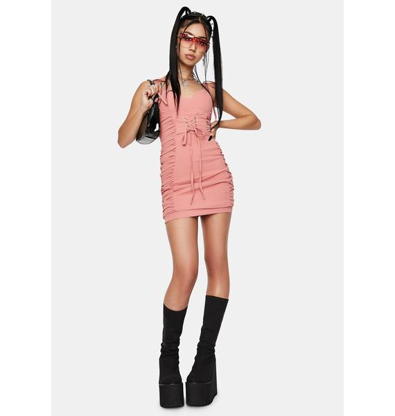 RARE LONDON Lace Up Ruched Cup Mini Dress