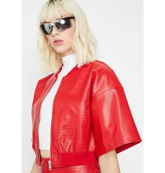 Cherry Haute Fashion Embossed Jacket