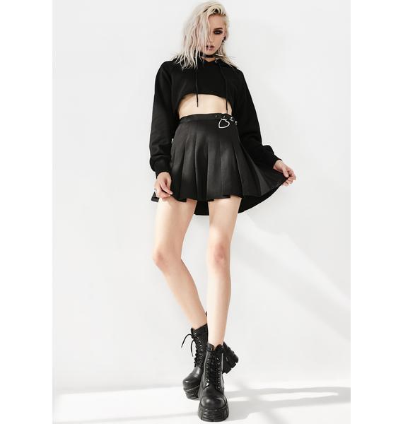 Punk Rave High Waist Ring Buckle Pleated Skirt