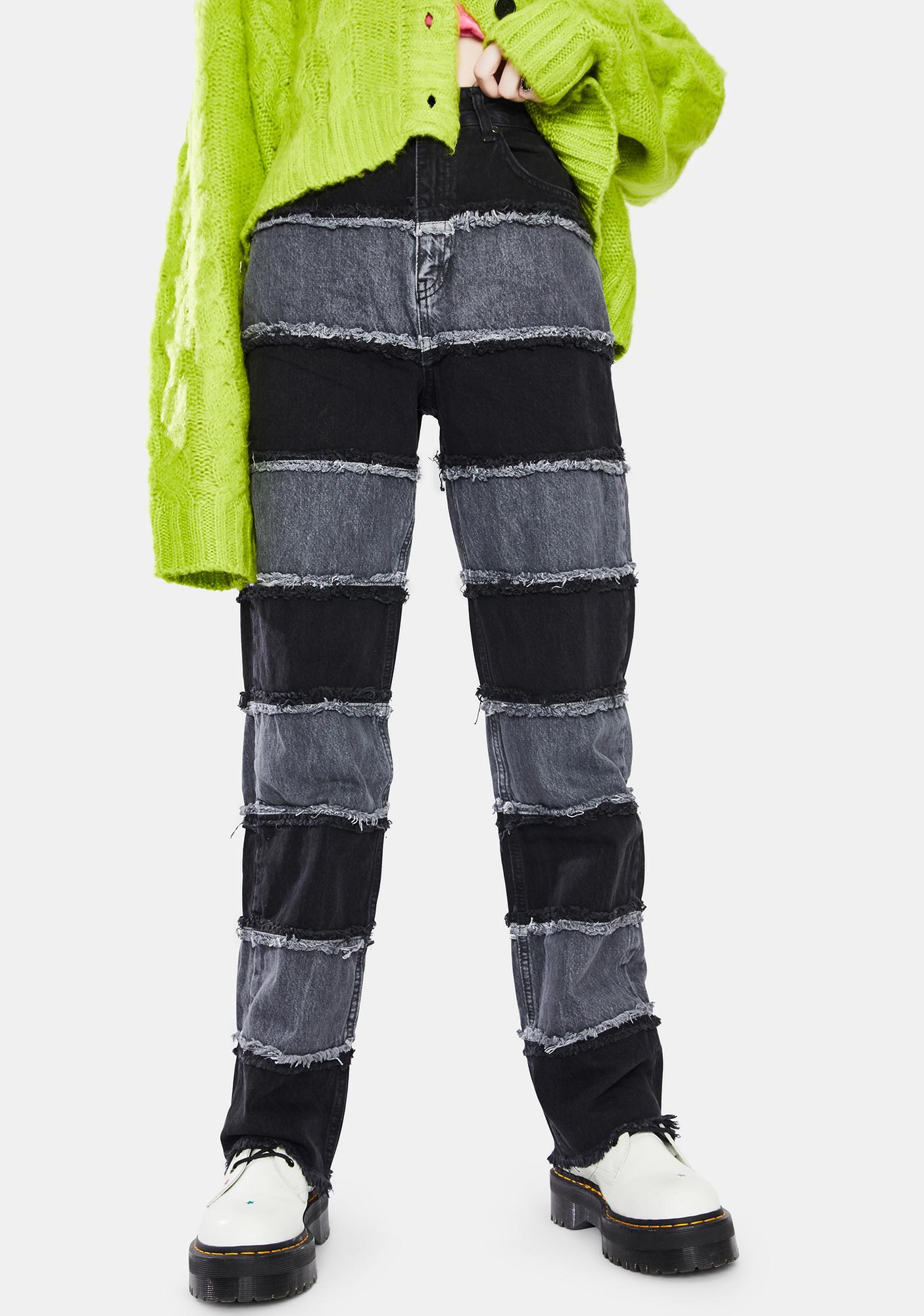The Ragged Priest Charcoal Shredder Wide Leg Jeans