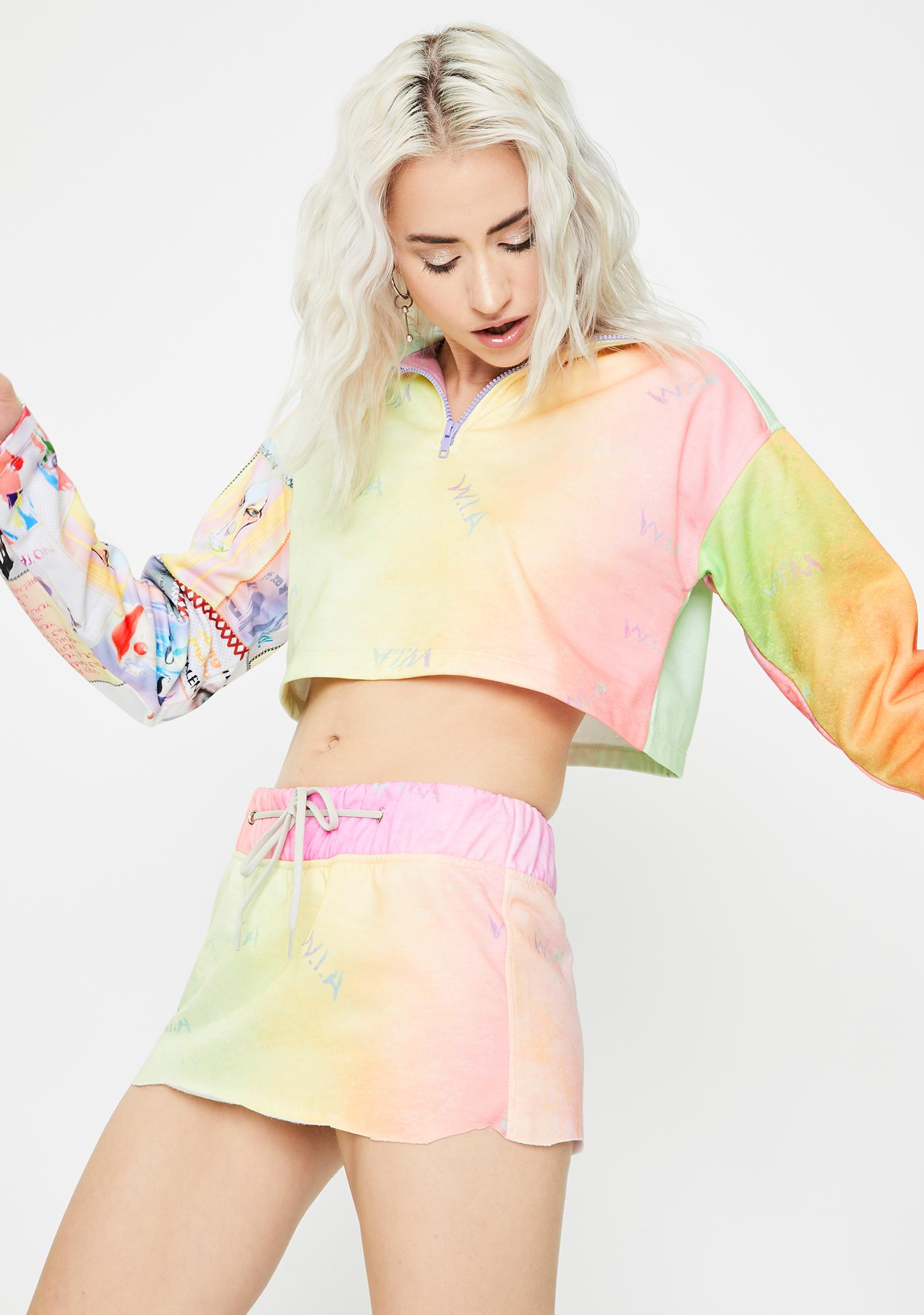 W.I.A Aqueous Tie Dye Mini Skirt
