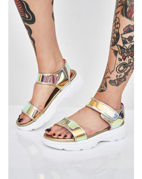 Gilded Icy Nebula Holographic Sandals