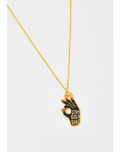 All Good Stay Gold Pendant Necklace