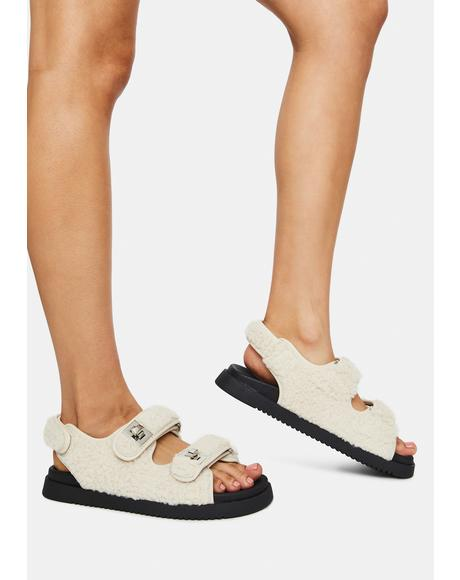 Oatmeal Margie Fluffy Sandals