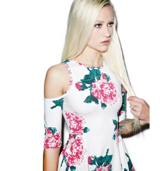 Joyrich 8bit Floral Cutout Shoulder Dress