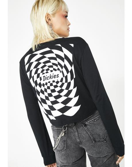 Spiral Checkered Long Sleeve Tee