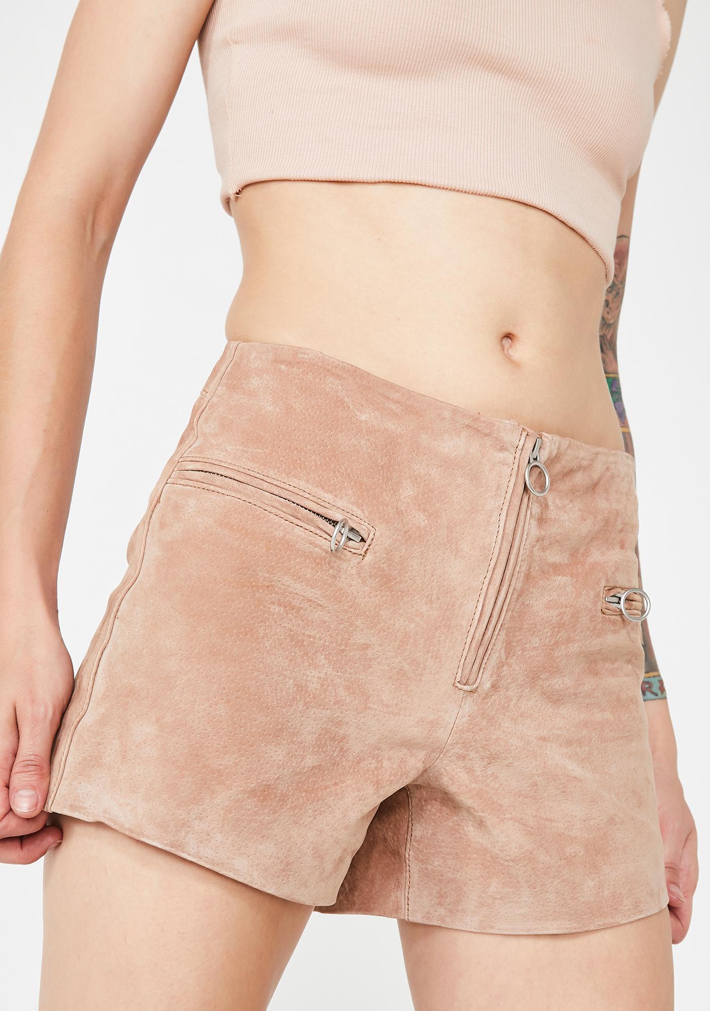 Blank NYC Hazelnut O-Ring Shorts
