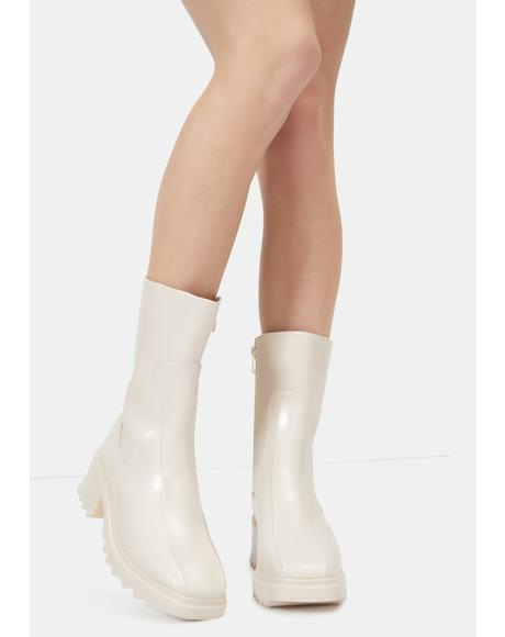 Bubbly Rain On Me Mid Rise Ankle Boots